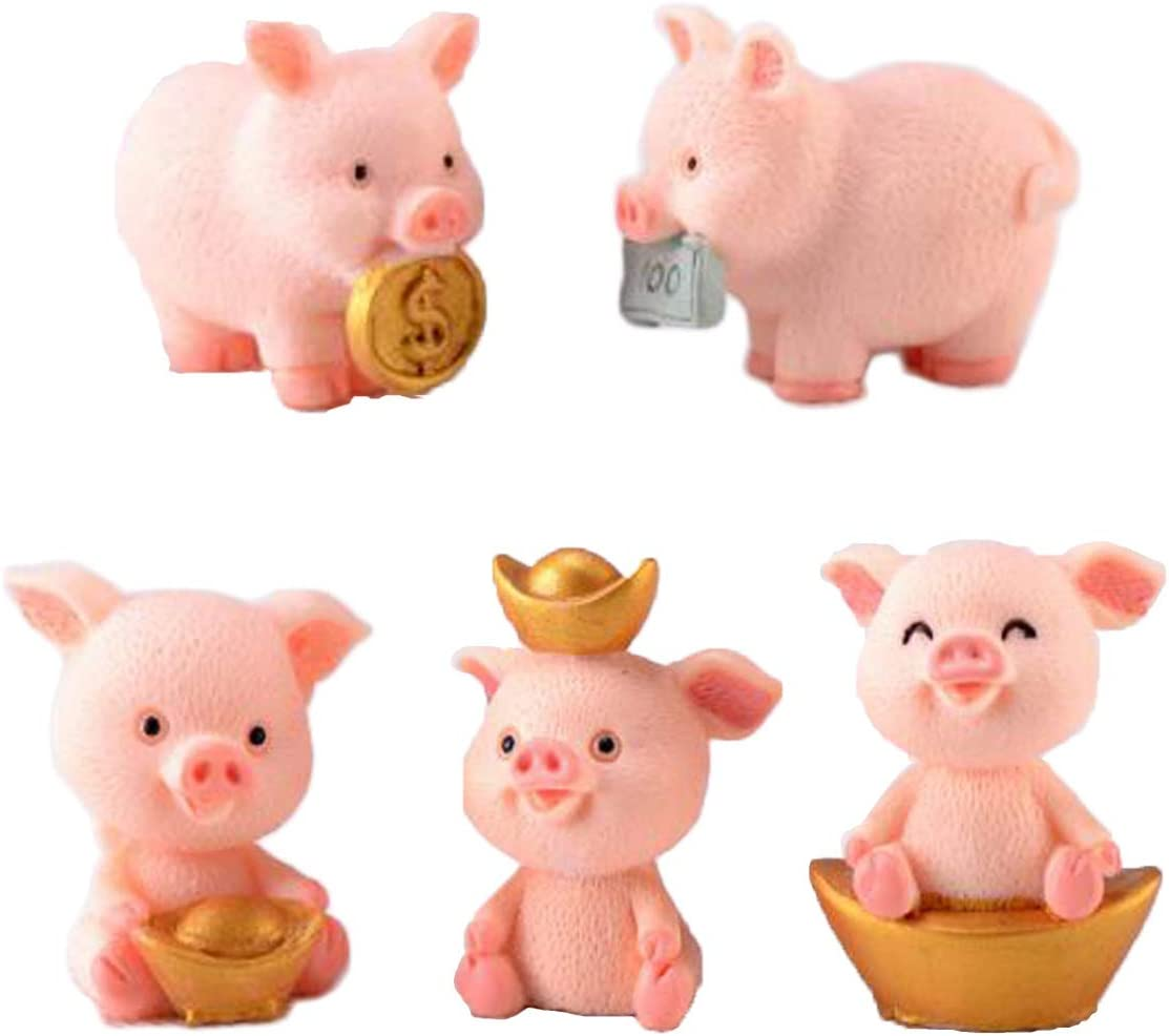 5 Pcs Miniature Pigs Figurines, Cute Pink Pig Family Toys Figures DIY Crafts for Fairy Garden Decoration Home Decor Cake Toppers