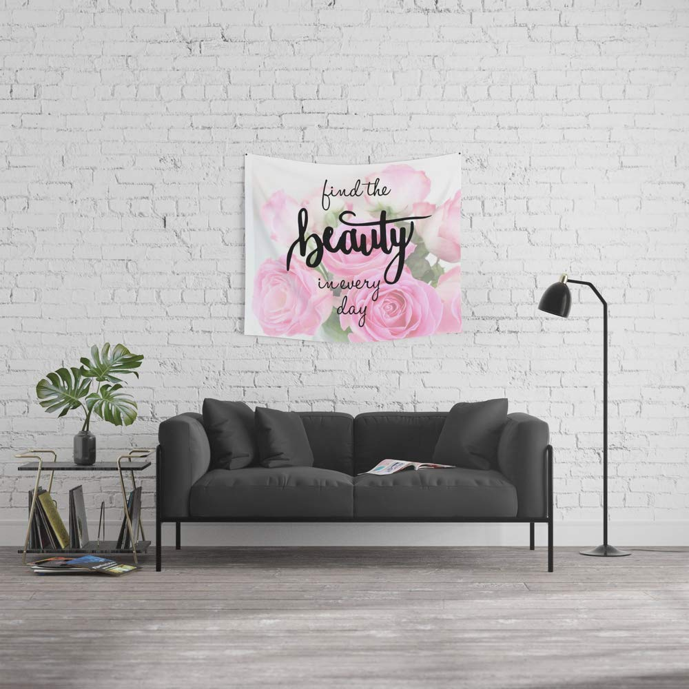 Force-over Wall Tapestry, Size Small: 51'' x 60'', Find The Beauty in Every Day, Handlettering Quote by Force-over