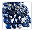 "MagicWater Supply Blue Glass Gems - 2 LB (pound) - Flat marble vase fillers, table scatter, aquarium décor, pebbles - Approx. 3/4"" diameter and 3/8"" Thickness"