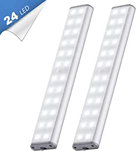 24 LED 6 Adjustable Lights 2020 Upgraded Cool White Cupboard Lights Motion Sensor Indoor Wireless USB Rechargeable Battery with Magnetic Strips for Closet/Wardrobe/Stairs/Wall (2 Pack)