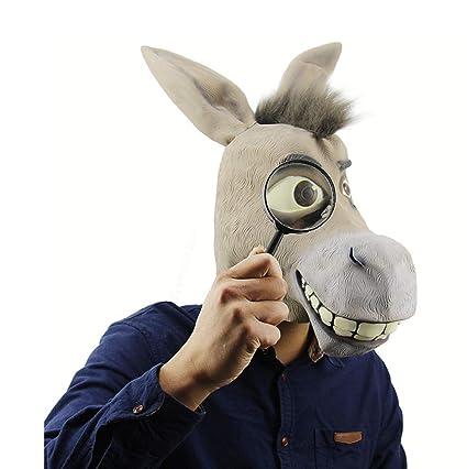 Máscara De Látex Para Halloween, Máscara De Animales, Divertido Cabeza De Burro Shrek Máscara