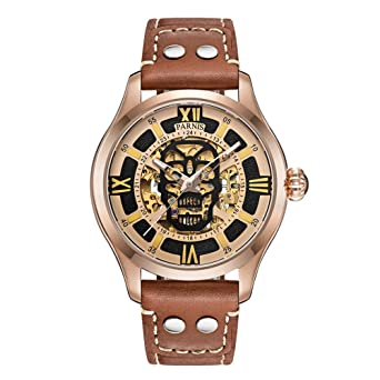 43ab02e0c Parnis 45mm Skull dial Gold case Sapphire Glass MIYOTA Automatic Men's Watch