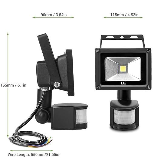 LE Foco LED con sensor Exteriores 10W=100W Halógena, Blanco frío, Resistente al agua: Amazon.es: Iluminación