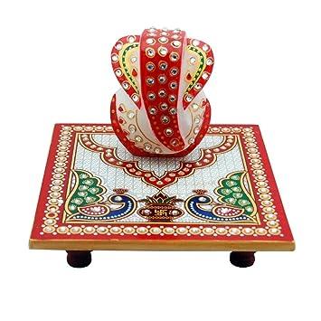 Marble Chowki With Ganesha Free shipping worldwide