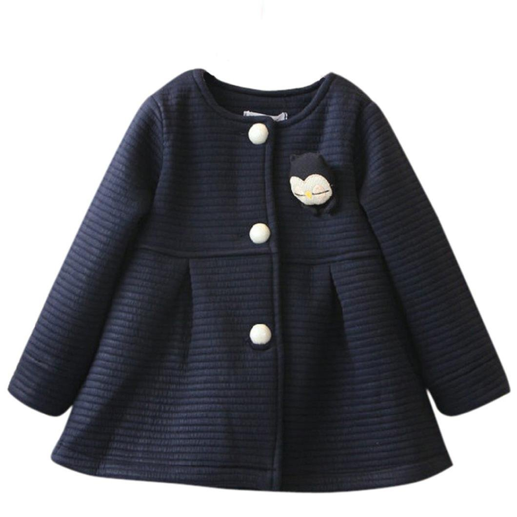 Janly Herbst Winter Kinder Jacken Baby Single Breasted Kind Mantel Mädchen Outerwear Jacken für Mädchen Bow Girl Clothes (Höhe: 80-90CM, Grau)