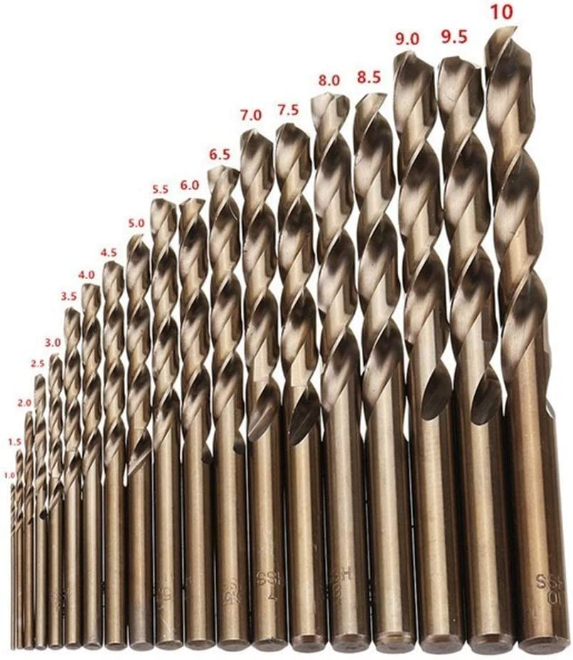High Quatity HSS-Co M35 Cobalt Straight Shank Twist Drill Bit Tools Accessories for Metal Stainless Steel Drilling professional Color : 19pcs