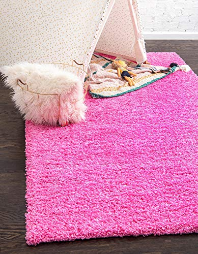 Unique Loom Solo Solid Shag Collection Modern Plush Taffy Pink Area Rug (5' 0 x 8' 0) (Shag Hot Pink Carpet)