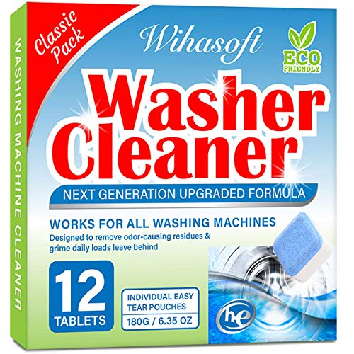 Wihasoft Upgraded Washing Machine Cleaner, Solid Washer Cleaner Deep Cleaning Tablet for Top Loader, Front Loader and HE, Natural Biological Formula, Safe for Septic, 12 Tabs