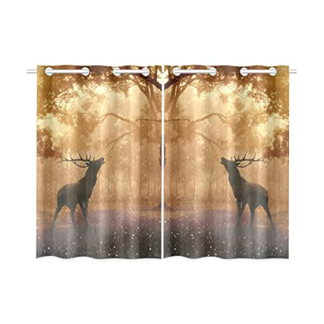 ADEDIY Custom Kitchen Curtains Deer In Mystic Forest Elk Kitchen Curtain  26X39 Inch (Two Piece