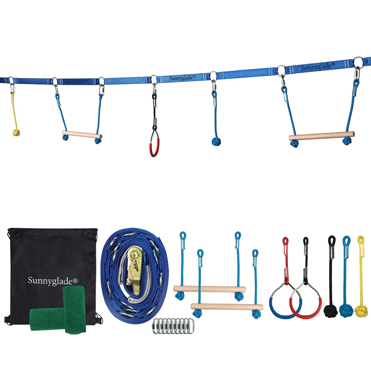 Sunnyglade Backyard Ninja Line Hanging Obstacle Course/Slackers Ninja Line Accessories for Kids - 40ft Slackline Kit with 2 Bars, 3 Fists & 2Rings (Obstacle Course Ninja Line) (Backyard Ninja Line) by Sunnyglade