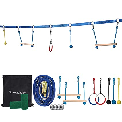 Sunnyglade Backyard Ninja Line Hanging Obstacle Course/Slackers Ninja Line Accessories for Kids - 40ft Slackline Kit with 2 Bars, 3 Fists & 2Rings ...