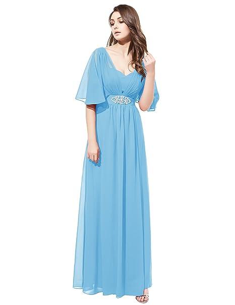 Dresstells reg;Vestido De Fiesta Para Boda Madrina Mujer Largo Escote Corazón De Gasa Azul