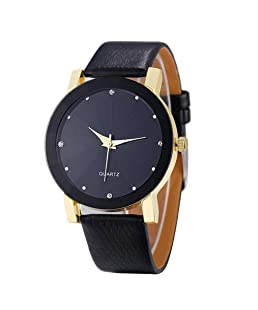 Auwer Luxury Watches, Black Leather Crystal Men's Quartz Watch Strap Band Wrist Fashion Retro Dial (Golden)