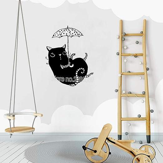yaoxingfu Recién llegados Gato con Paraguas Etiqueta de la Pared ...