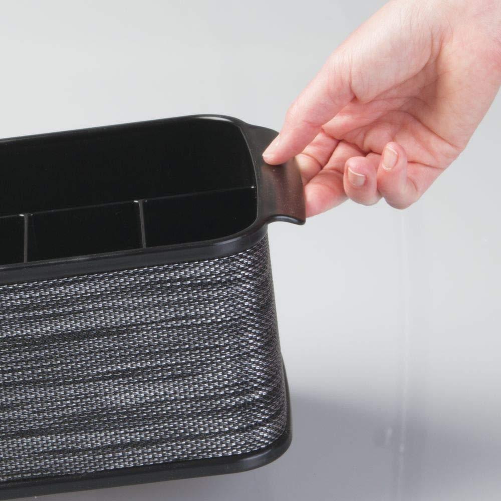 o para picnic Cestas con asa negro mDesign Juego de 2 cestas para cubiertos con asa ideales para ordenar cubiertos y servilletas Cuberteros con 4 compartimentos peque/ños y uno grande cada uno