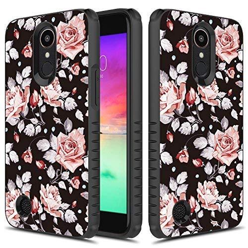 LG Aristo 2 Case, TownShop Heavy Duty Dual Layer Shockproof Bumper Case for LG LV3 / LG Aristo 2 / LG K8 (2017) / LG Phoenix 3 / LG Fortune - Pink Rose