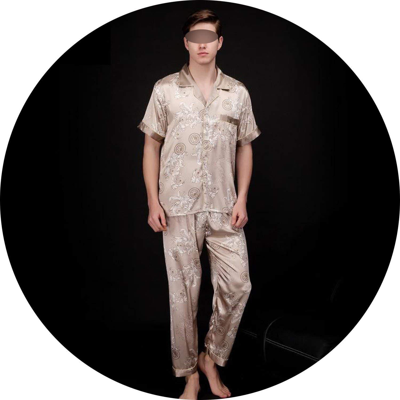enjoy clearance price on feet shots of exquisite design Silk Pajamas Men Summer Short Sleeve Satin Sleepwear Male ...