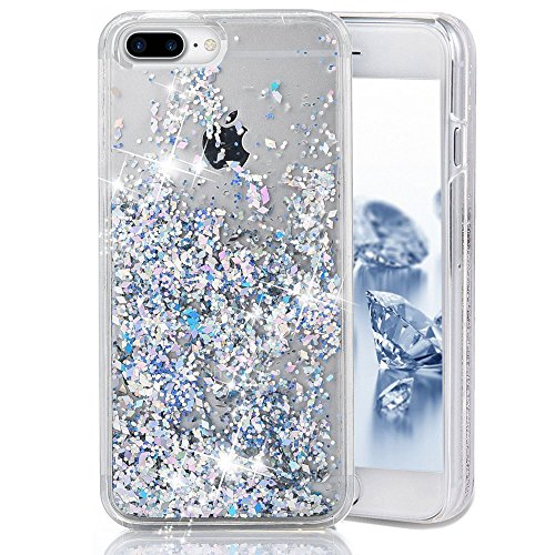 SUPVIN Bling Glitter Sparkle Shiny Liquid Phone Case for Girls Women Floating Bumper Cute Case with Rhinestone Diamond [TPU+PC] Compatible for iPhone 7 Plus/iPhone 8 Plus(Silver)