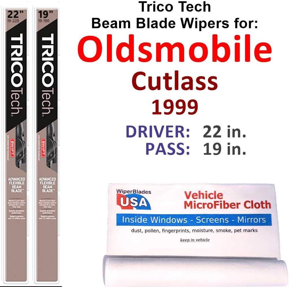 amazon com beam wiper blades for 1999 oldsmobile cutlass set trico tech beam blades wipers set bundled with microfiber interior car cloth automotive amazon com