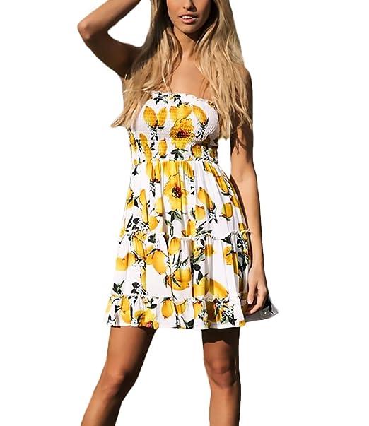 Elegant Damen Früchte Druck Ärmellos Sommerkleider Sommer Kleid Kurz Rj345LA