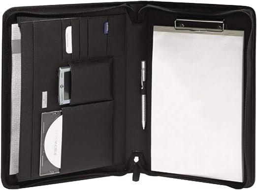 Bodenschatz JAMES - Portadocumentos (DIN A4, piel de vacuno, con compartimentos y bloc, ideal para reuniones o viajes), color negro: Amazon.es: Juguetes y juegos