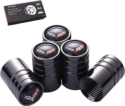 Baoxijie 4 Pcs Metal Car Wheel Tire Valve Stem Caps Suit for Chevrolet Corvette Styling Decoration Accessories