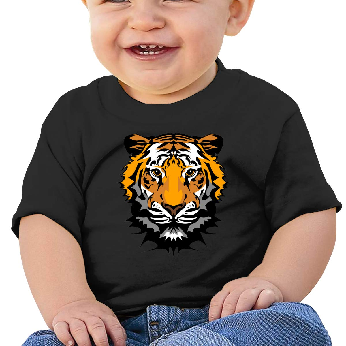Hazhisha Tager Baby T-Shirt with Round Collar and Pure Cottonblack