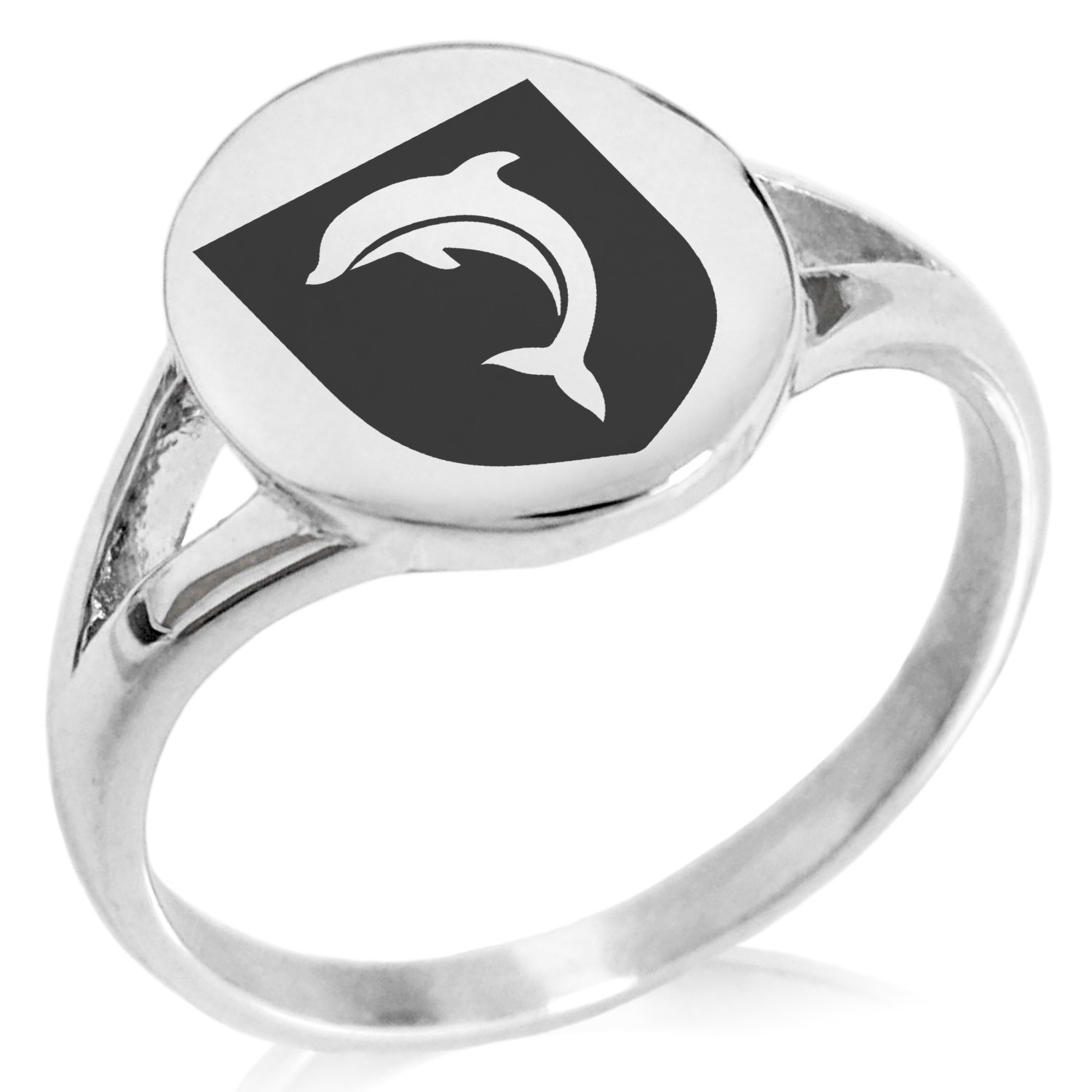 Tioneer Stainless Steel Dolphin Diligence Coat of Arms Shield Symbol Minimalist Oval Top Polished Statement Ring, Size 7