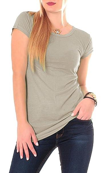 f6aa07e34433 Damen Basic T-Shirt Top lang Longshirt Longtop Miniikleid Kurzarm Rundhals  uni Beige 36