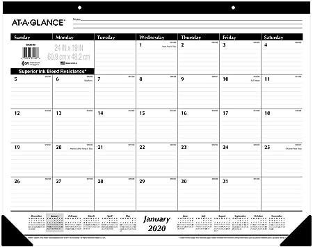 AT-A-GLANCE 2020 Calendario de escritorio, 24 x 19 pulgadas, Jumbo ...