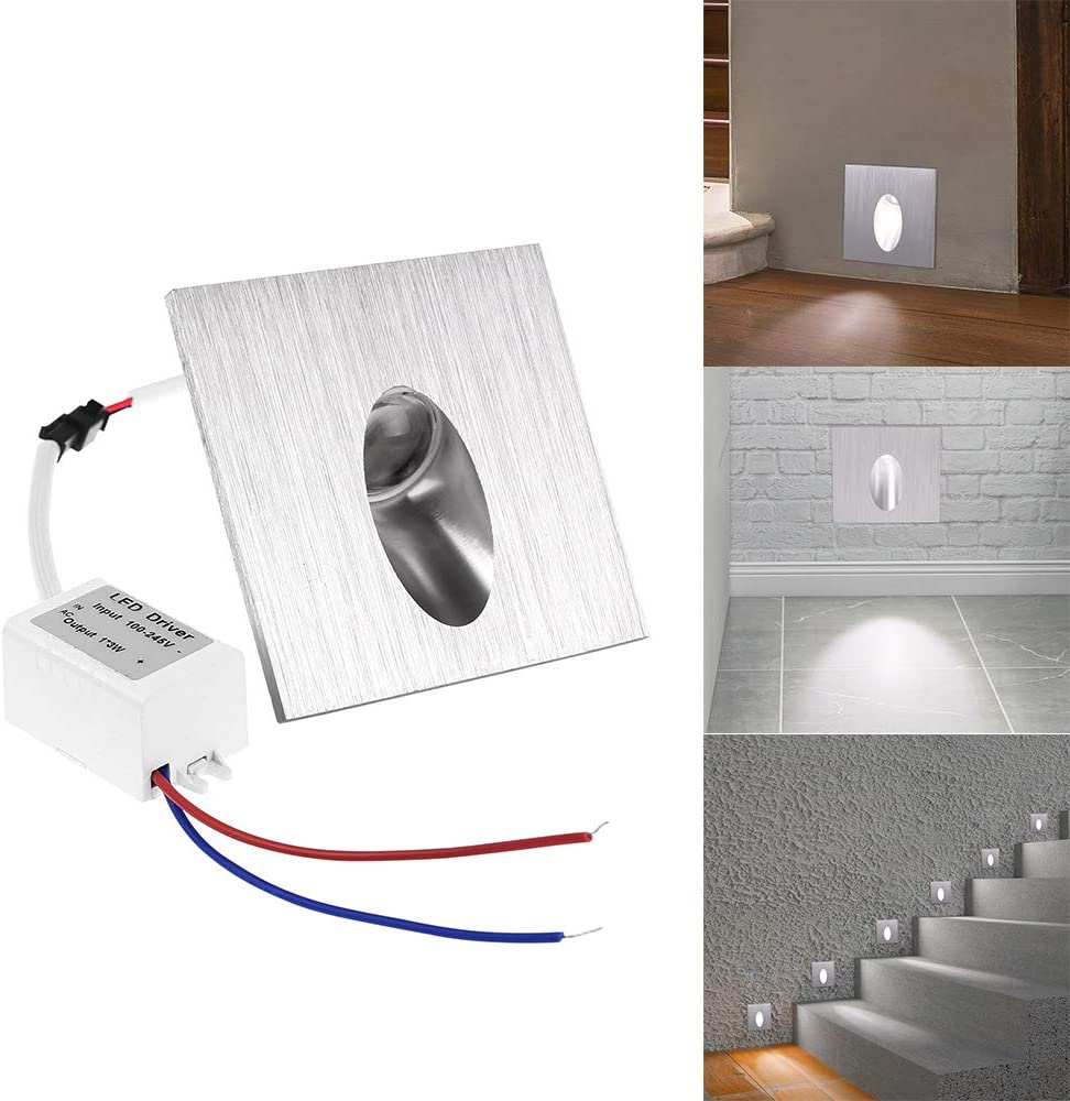 Basement Light Houkiper 1W Square LED Recessed Step Stair Light Houkiper Indoor Step Light Shockproof Foot Wall Lamp Suit for Porch Pathway Cool White AC 100-245V Step Stair