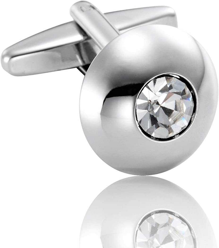 Urban Jewelry Round Men's Cufflinks Stainless Steel Cubic Zirconia Simple Circle Cuff Links