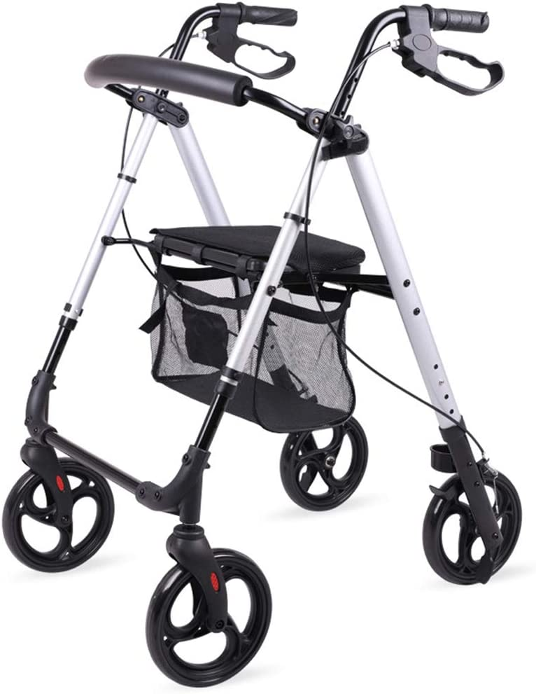 HMHD Andador para Ancianos | Plegable | Aluminio | Frenos de maneta | Caminador Ortopédico con Asiento para Mayores | 4 Ruedas | Peso Máximo soportado 120 Kilogramos |