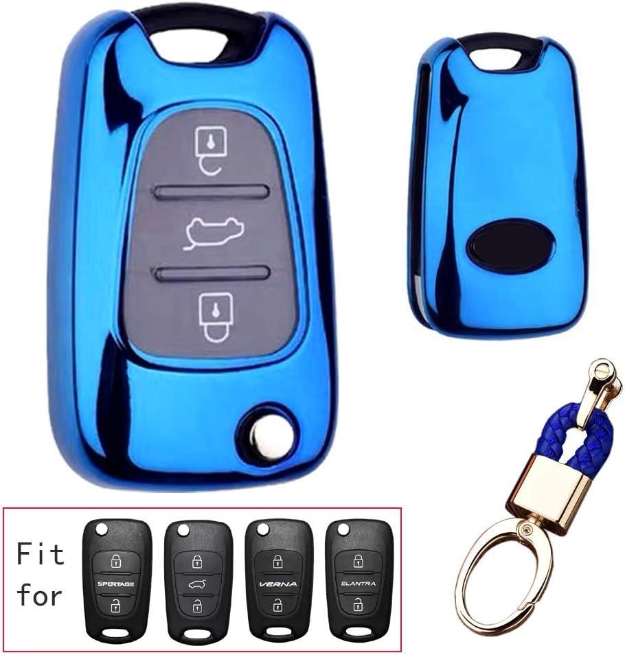 red TM 3 Buttons Soft TPU flip Folding keyless Remote Key Fob case Cover for Kia K5 K2 Sportage Rondo Soul Rio Optima//Magentis//Lotze Hyundai Elantra Verna i20 i30 i35 iX20 iX35 Keychain Royalfox