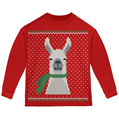7ad6056d2525 Amazon.com  Ugly Christmas Sweater Big Llama Red Toddler Long Sleeve ...