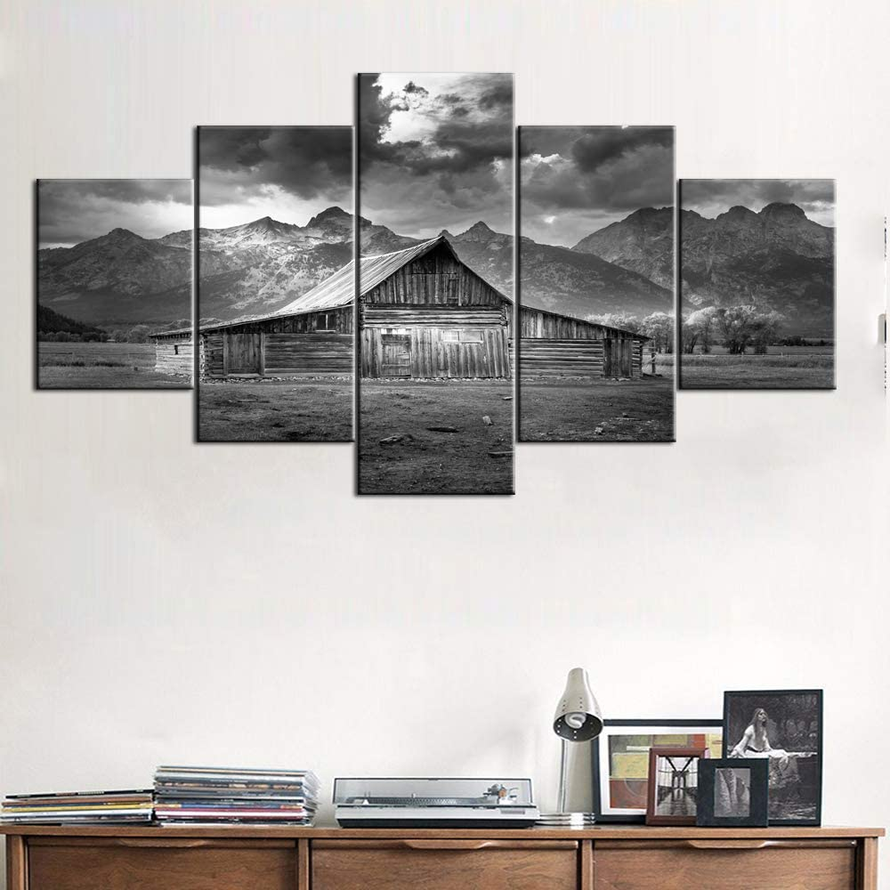 Framed Barn Pictures Grand Teton Paintings Black and White Canvas USA Landmarks on Wall Art,Modern Wall Art 5 Piece Artwork for Home Decor Giclee Gallery-Wrapped Stretched Ready to Hang(60''Wx32''H)