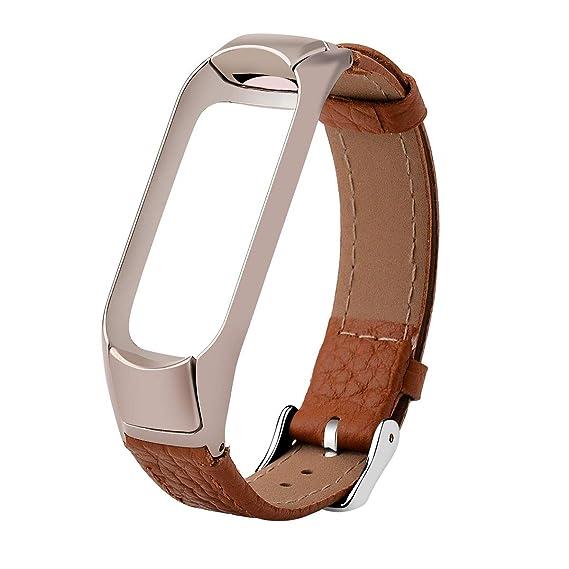 Correa para Xiaomi Mi Band 3,Hangrui Recambio de PU Piel con Cuadro Metal Bracelet Repuesto Correa de Recambio Brazalete Extensibles Diseño de Moda ...