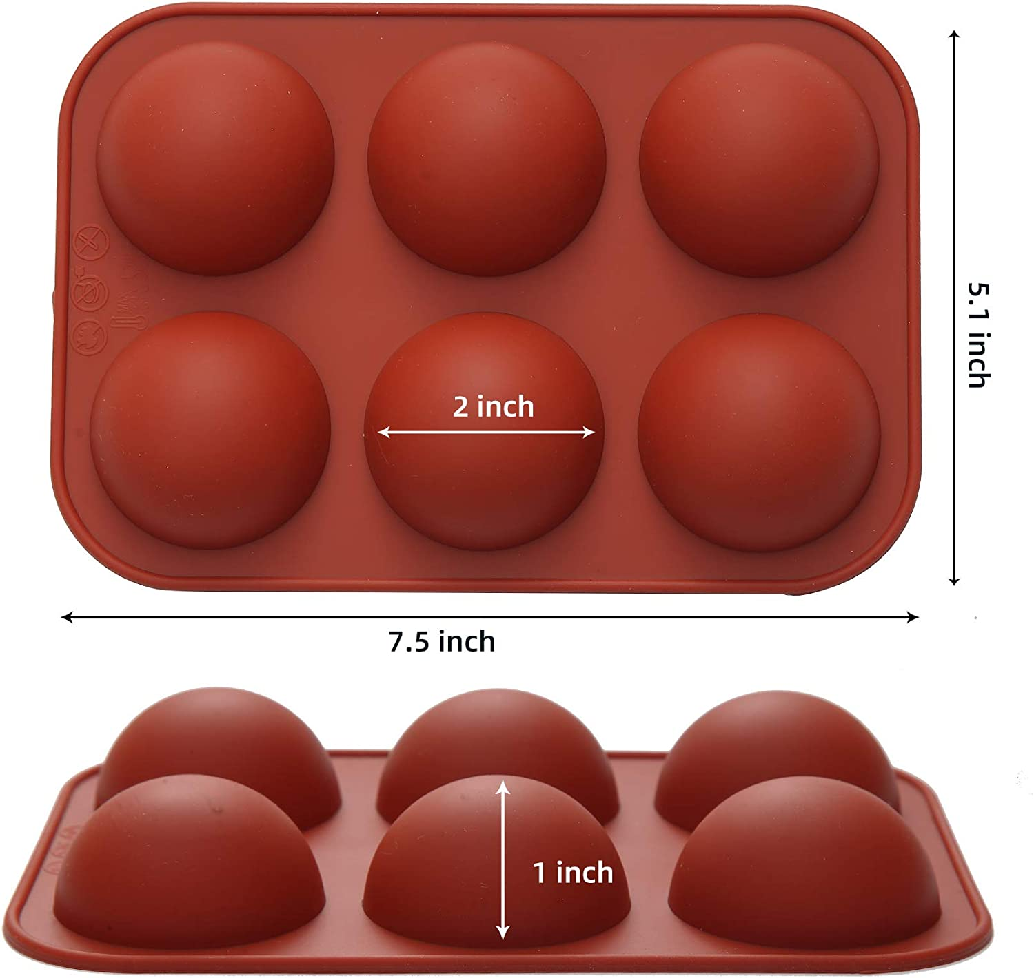 Hot Chocolate Bomb Mold Silicone Hot Cocoa Bomb Mould Semi Sphere 6-Cavity for Making Cake Dome Mousse Jelly Pudding Handmade Soap