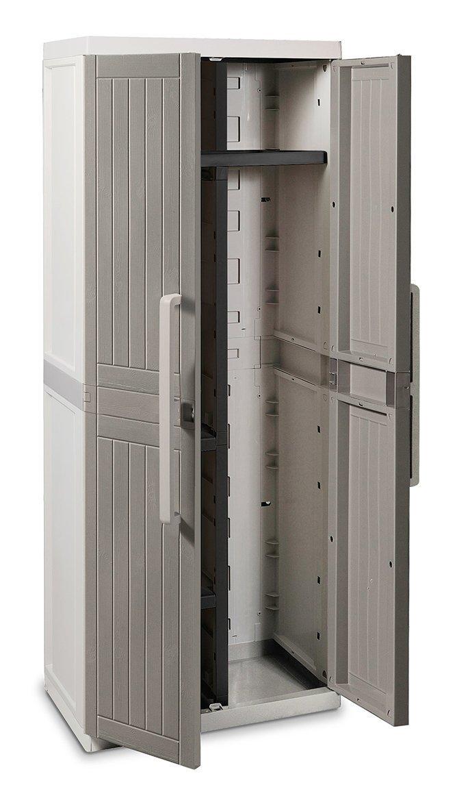 Toomax Z255R025 Armadio, Wood Line, S, Portascope, 65X37X165, Grigio/Tortora Plastmeccanica S.P.A. ART255