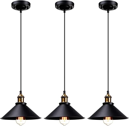 LEONLITE Industrial Hanging Pendant Light, Rustic Farmhouse Style, 10.16 Inch Matte Black Metal Shade, UL Listed Retro Vintage Hanging Light with E26 Socket, for Kitchen, Dining Room, Bars, Pack of 3