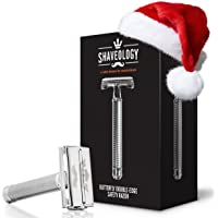 SHAVEOLOGY Butterfly Safety Razor for Men + 5 Platinum Double Edge Razor Blades + Leather Blade Guard + Polishing Towel - Perfect Men's Gift for Wetshave