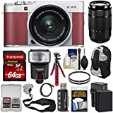 Fujifilm X-A5 Wi-Fi Digital Camera & 15-45mm XC Lens (Pink) 50-230mm Lens + 64GB Card + Battery & Charger + Backpack + Tripod + Flash + Kit