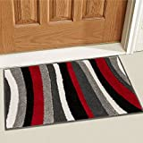 """Temptation Waves & Stripes Red, Grey, Ivory Modern 2x3 ( 1'8"""" x 2'7"""" ) Geometric Comfy Casual Hand Carved Area Rug Easy to Clean Stain & Fade Resistant Abstract Contemporary Thick Soft Plush"""