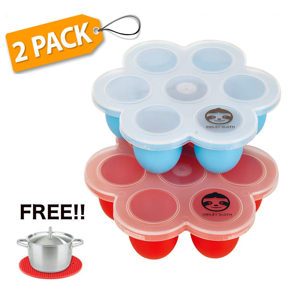 Silicone Egg Bites Molds - Instant Pot Accessories, Baby Food Freezer Trays and Pressure Cooker Accessories 2 Pack Premium egg bites mold for instant pot and FREE Trivet Potholder