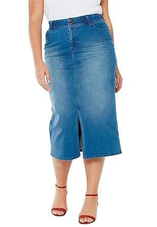 1512c7bcc3a Jessica London Women s Plus Size Tummy-Control Denim Maxi Skirt - Medium  Stonewash Sanded