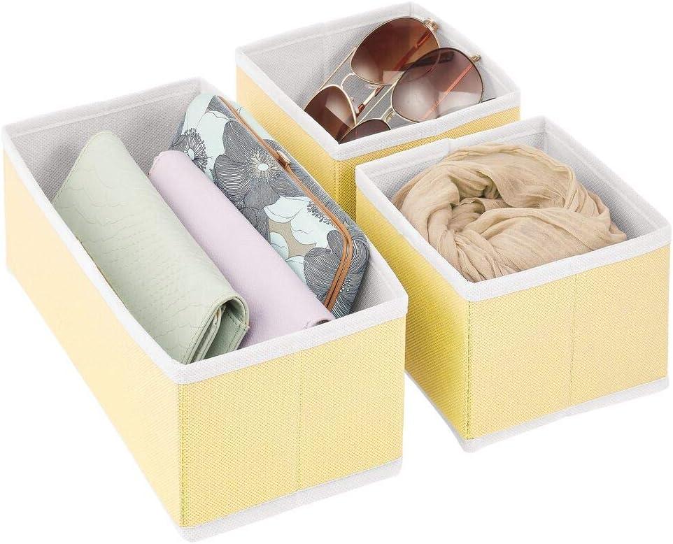 Ropa Interior y m/ás Organizadores para armarios para Guardar Calcetines Amarillo Claro//Blanco mDesign Juego de 3 Cajas organizadoras Cestas de Tela para almacenaje en cajones de Dos tama/ños