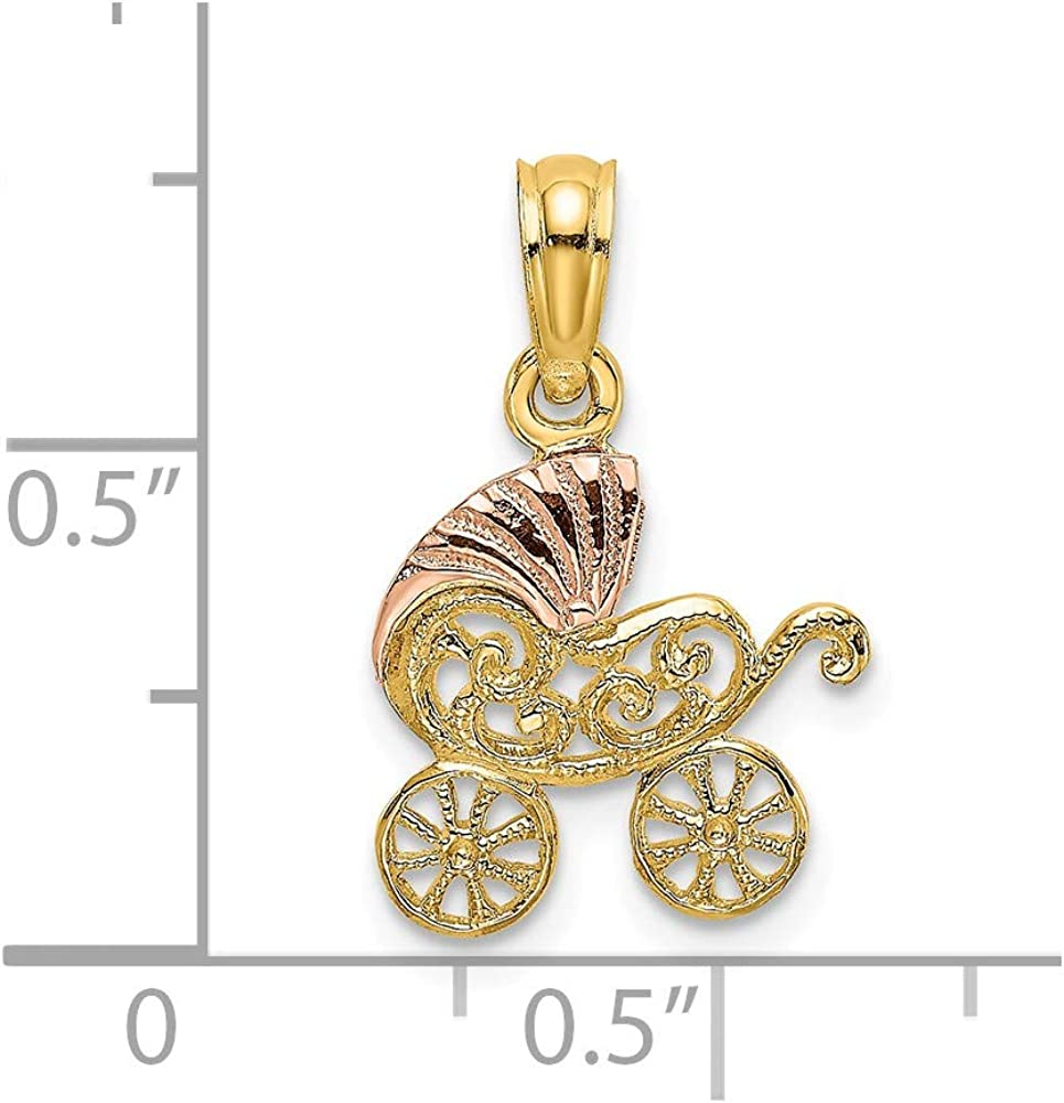 Yasmins Collection 14k Yellow and Rose Two Tone Gold Baby Stroller with Pink Visor Pendant 0.6 x 0.49 inches