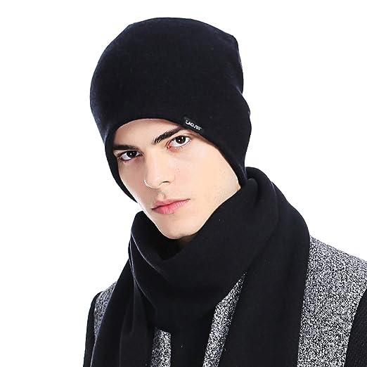 5876553dea6f07 CACUSS Mens Winter Wool Beanie Hat Warm Knit Hat Daily Cuff Beanie Thick  Ski Caps Comfy