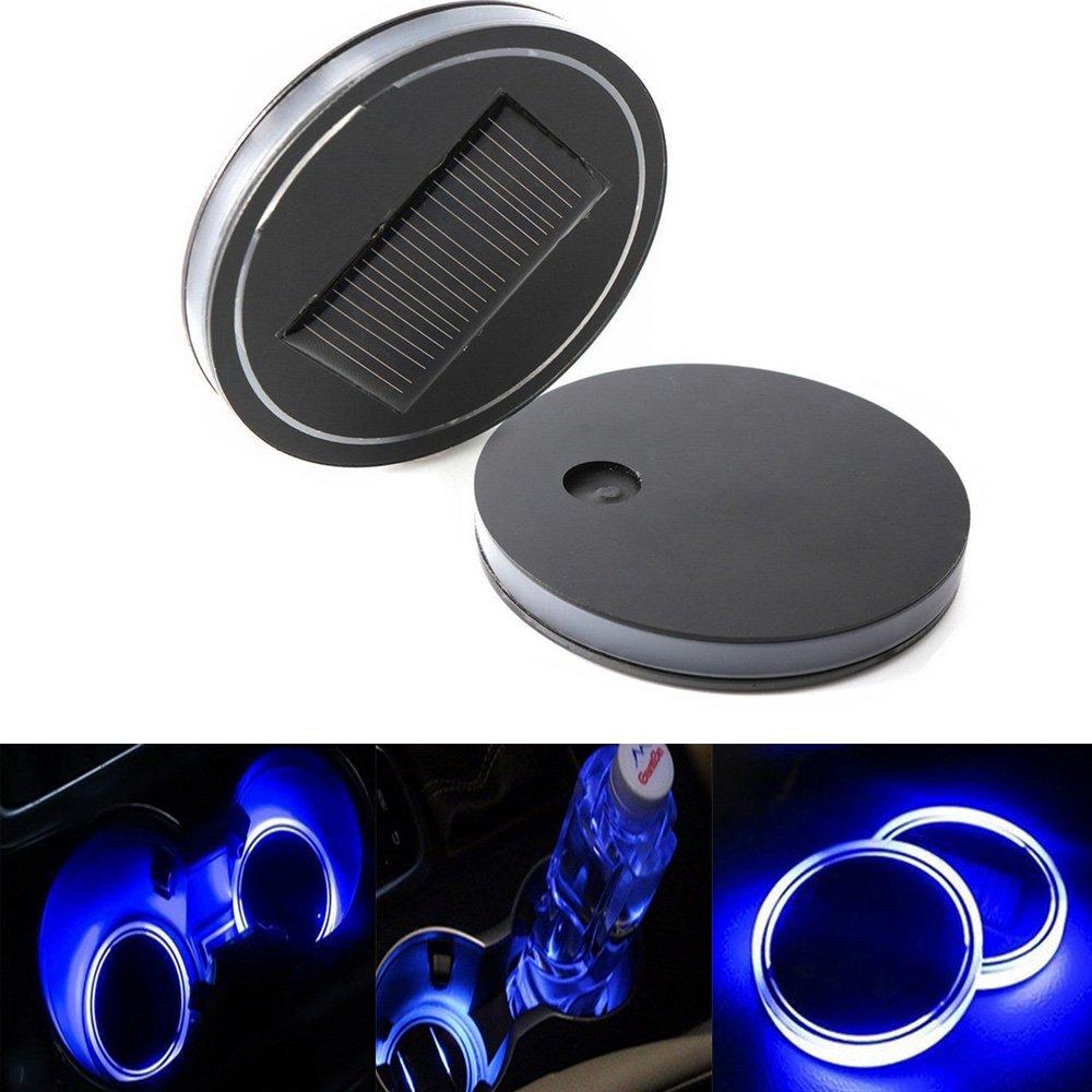 Haichen - 1 par de luces LED para portavasos con luz solar LED para coche, SUV, camión, barco, etc.: Amazon.es: Coche y moto