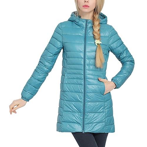 Mujer Encapuchado Ligero Largo Abajo chaqueta Talla grande Moda Calentar Capa Para invierno